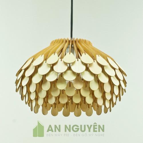 Đèn Gỗ: Mẫu đèn gỗ hoa thả trần trang trí phòng khách, sảnh tiệc