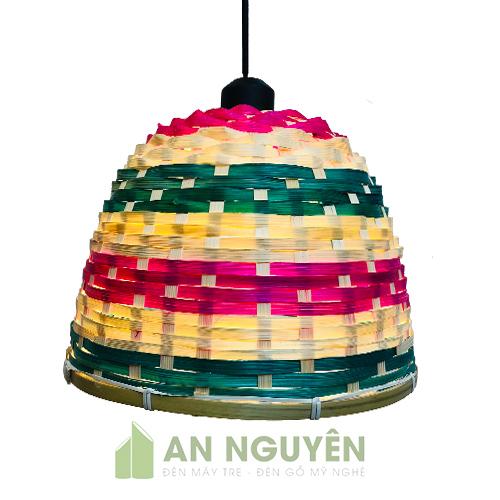 Đèn Mây Tre Mẫu đèn nan tre đan nan nhộm màu trang trí quán ăn