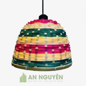 Đèn Mây Tre: Mẫu đèn nan tre đan nan nhộm màu trang trí quán ăn