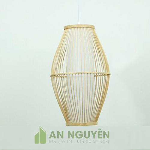 Đèn Mây Tre: Mẫu đèn thả tăm tre hình oval lồng nhựa trang trí nhà hàng
