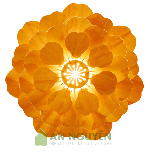 Đèn Gỗ: Mẫu đèn thả gỗ trang trí hình hoa mai cực đẹp