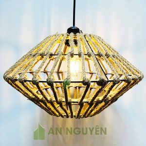 Đèn Gỗ: Mẫu đèn gỗ decor quấn dây thừng kiểu phi thuyền