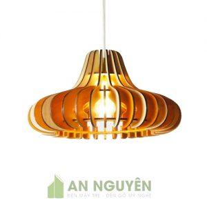 Đèn Gỗ: Mẫu đèn gỗ thả trần nhỏ nhắn trang trí bàn ăn