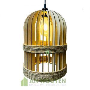 Đèn Gỗ: Mẫu đèn thả gỗ quấn dây thừng trang trí quán cafe kiểu lồng chim