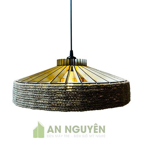 Đèn Gỗ: Mẫu đèn gỗ quấn dây thừng trang trí quán cafe đẹp, giá rẻ