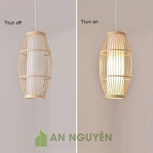 Đèn Mây Tre- Mẫu đèn tăm tre đan có lồng vải hình thoi cỡ lớn (4)