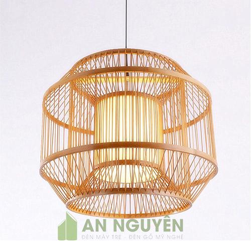 Đèn Mây Tre: Mẫu đèn tăm tre trụ tròn, trụ dài lồng nhau trang trí nhà hàng