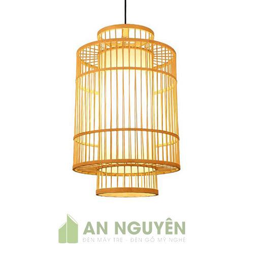Đèn Mây Tre: Mẫu đèn tăm tre hình trụ thả dài trang trí bàn ăn