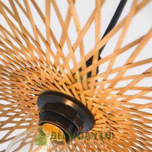 Đèn Mây Tre: Mẫu đèn nan tre đan hình lá sen không vành đơn giản