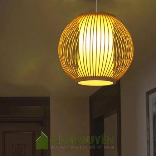 Đèn Mây Tre: Mẫu đèn cầu lồng vải bằng tre thả trần cỡ nhỏ