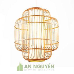 Đèn Mây Tre: Mẫu đèn tăm tre đan lồng nhau trang trí bàn ăn nhà hàng