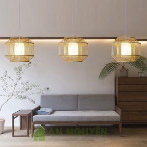 Mẫu đèn tăm tre trụ tròn, trụ dài lồng nhau trang trí nhà hàng