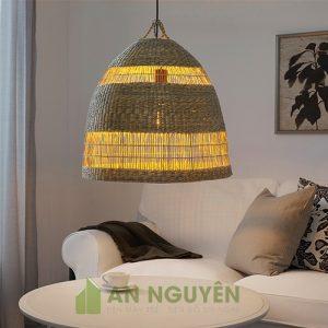 Đèn Mây Tre: Mẫu chụp đèn cói đan thả trần trang trí bàn ăn, phòng khách