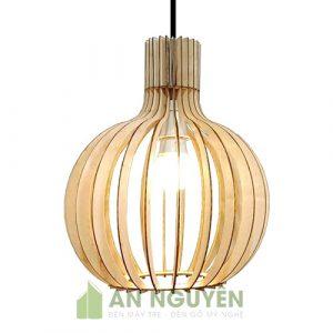 Đèn Gỗ- Mẫu đèn gỗ hình củ tỏi trang trí quán cafe, bàn ăn rất đẹp (3)