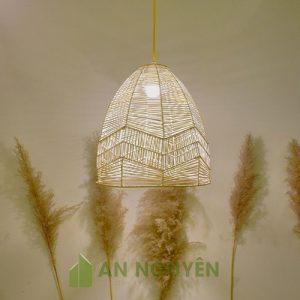 Đèn Mây Tre: Mẫu đèn mây đan trên khung sắt trang trí quán ăn size nhỏ