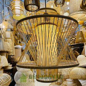 Đèn Mây Tre: Mẫu đèn tre đan trang trí hiên, hành lang chùa