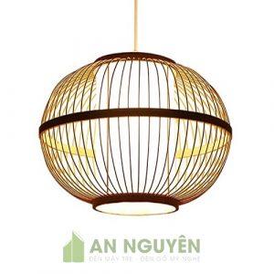 Đèn Mây Tre: Mẫu đèn tre hình tròn có lồng nhựa size nhỏ trang trí nhà hàng