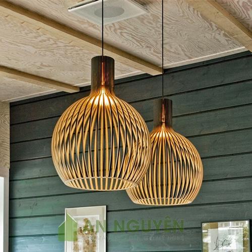Mẫu đèn gỗ hình củ tỏi trang trí quán cafe, bàn ăn rất đẹp