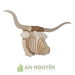 Đầu bò Texas sừng dài bằng gỗ trang trí phòng khách