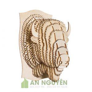 Đầu bò rừng Bắc Mỹ bằng gỗ trang trí