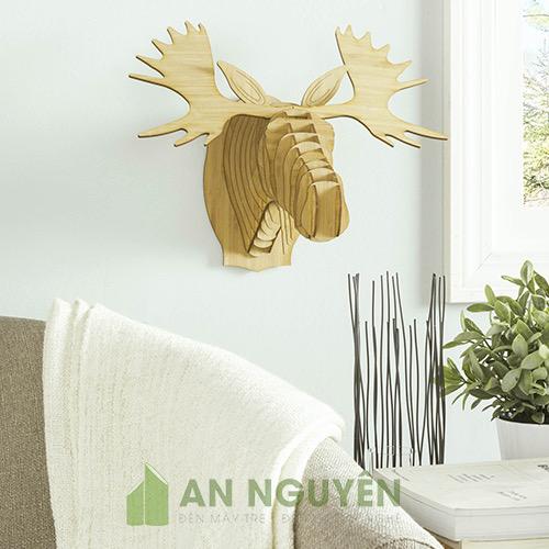 Đầu dai sừng tấm bằng gỗ trang trí phòng khách