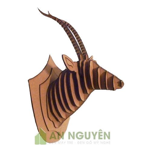 Dầu dê bằng gỗ sừng hướng lên trang trí vách cực đẹp