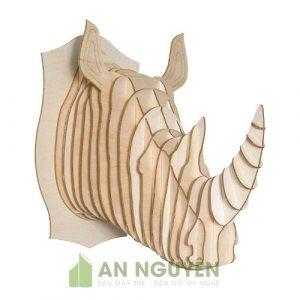Đầu tê giác một sừng bằng gỗ trang trí phòng khách, phòng làm việc