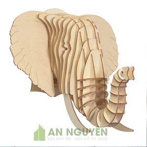 Đầu voi trang trí phòng khách dễ thường bằng gỗ gía rẻ