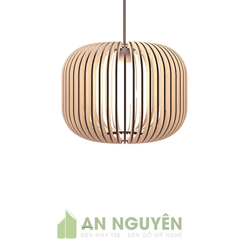 Đèn Gỗ: Mẫu đèn song gỗ hình trụ tròn trang trí bàn ăn nhà hàng