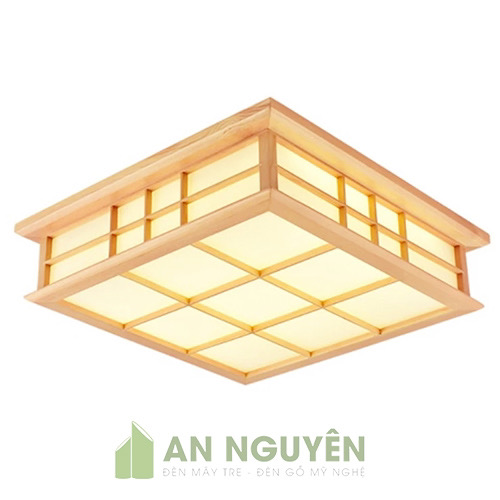 Đèn Gỗ: Mẫu đèn gỗ ốp trần bằng gỗ thật trang trí phòng khách