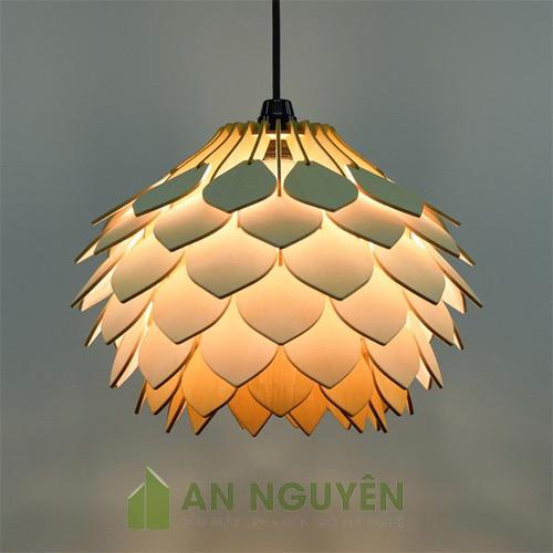 Đèn Gỗ: Mẫu đèn gỗ thả trần lá nhọn kiểu mới nhỏ nhắn trang trí phòng ngủ