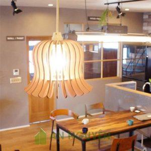 Đèn Gỗ thả trần trang trí bàn ăn nhỏ nhắn