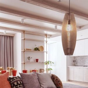 Đèn Gỗ thả trần hình tàu con thoi trang trí bàn sofa homestay