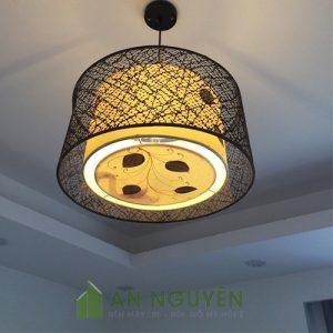 Đèn Vải: Mẫu đèn vải thả trần tròn trang trí phòng khách