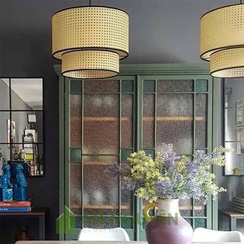 Đèn Mây Tre: Mẫu đèn mắt cáo thả trần trang trí phòng khách cực đẹp