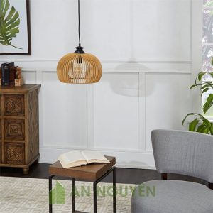 Đèn Gỗ: Mẫu đèn gỗ nửa cầu thả trần trang trí phòng khách cực đẹp