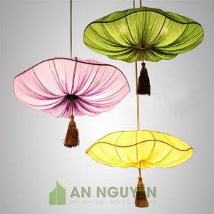 Đèn Vải: Mẫu đèn vải kiểu lá sen nhiều màu sắt trang trí quán ăn