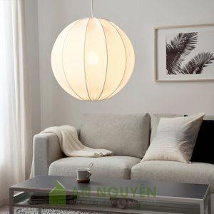 Đèn Vải: Mẫu đèn vải hình cầu khung sắt trang trí phòng ngủ